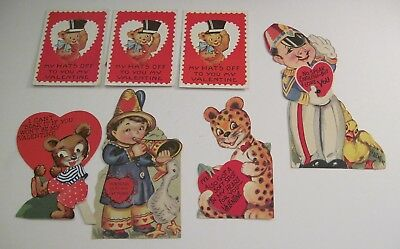 Vintage Valentines Lot of 7 Cards Mechanical Animals 1940s 1950s