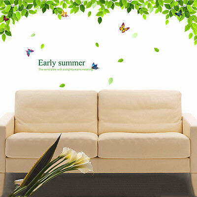 Vinyl Removable Green Leaves Butterfly Wall Sticker Art  Decal Mural Home Decor