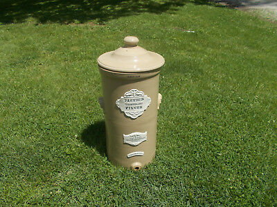"1880s PASTEUR CHAMBERLAND FILTER STONEWARE PORCELAIN HUGE 26 1/2"" CROCK WITH LID"