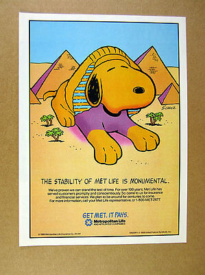 1988 Snoopy great sphinx pyramids cartoon art Met Life Insurance print Ad