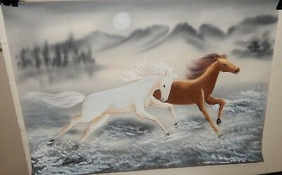 Chinese Horses Original Watercolor On Silk Painting Signed
