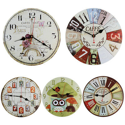 US Room Antique Decor Wall Clocks Decoration Clock Shabby Chic Retro Kitchen