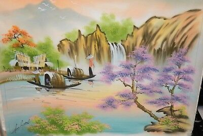 Chinese Original Watercolor On Silk Village River Painting Signed #2