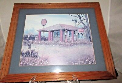 **framed Coca Cola Advertising Print Pure Oil Gas Station**