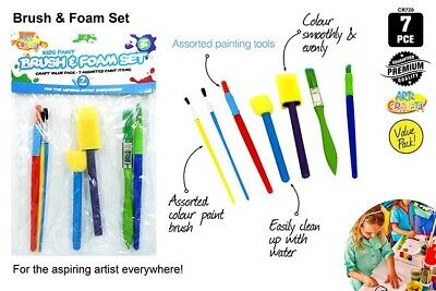 7pce Kids Craft Paint Brush & Sponge Set