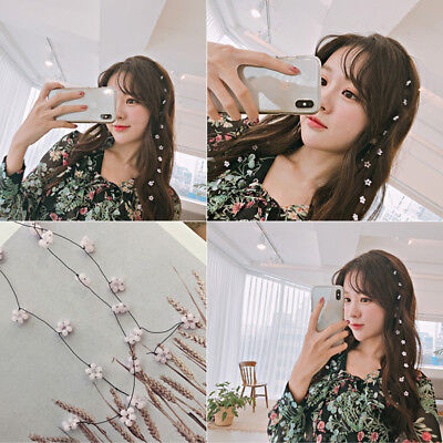 Girls Bride Wedding Party Prom Flower Pearl Long Headband Hairpin Accessories