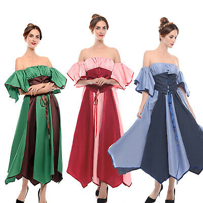 Renaissance Medieval Off Shoulder Women Dress Halloween Party Costume Cosplay