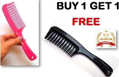 2 x Double Row Tooth Hair Comb with Handle Best Beauty Buys for Dry Wet Curly
