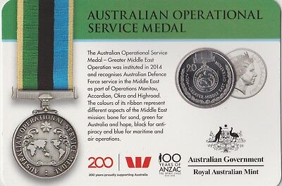 2017 Australian Operational Service Medal 20 cent carded coin UNC