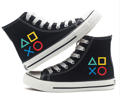 Nintendo PlayStation Button Canvas Shoes High Top Flat Unisex Black Causal Shoe