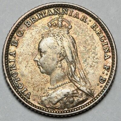 1888 Queen Victoria Great Britain Silver Groat Four Pence 4D Coin