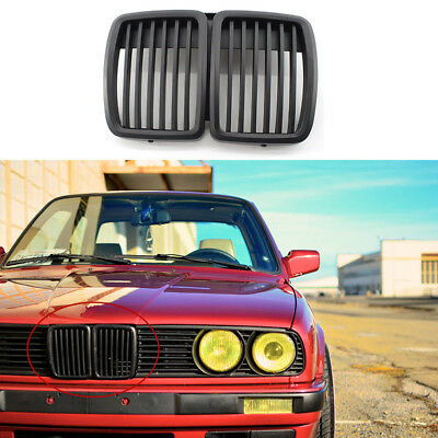 For BMW E30 1983-1991 3-Series Matte Black Front Center Kidney Grille Grill Vent