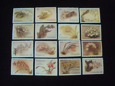 Guyana 16  Orchids Stamps Series 1  Unmounted Mint MNH F