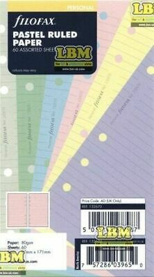 Filofax Personal size Pastel Ruled Paper Assorted Colours Insert Refill 132670
