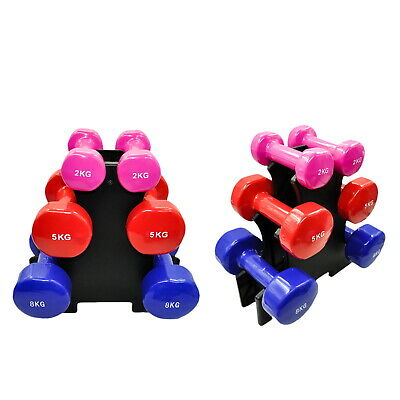 3 Pairs PVC Dumbbell Set Weight - 2kg + 5kg + 8kg - Total 30kg With 1 Free Rack