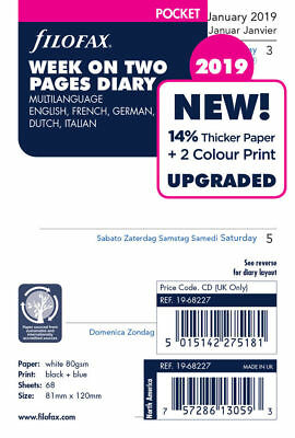 Filofax Pocket Size 2019 Week On Two Pages 5 Language Diary Refill 19-68227