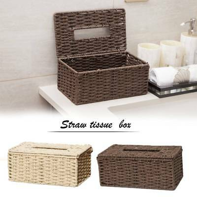 Handmade Tissue Box Cover Hand-Woven Wicker Holder Bathroom Decor Natural