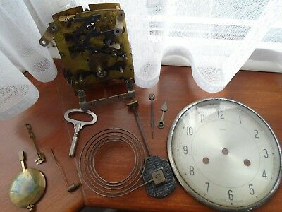 Vintage Smiths Enfield Chime Mantel Clock Movement Pendulum & Key