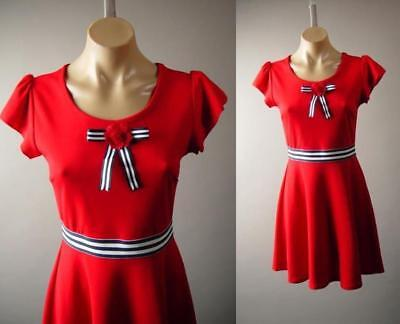 Red 40s 50s Sailor Nautical Pinup Stripe Bow Pin Skater 275 mv Dress 1XL 2XL 3XL