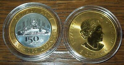 2017 $5 Canada 1 Oz Silver 150th Anniversary Voyageur Two Tone Gold Gilded Coin