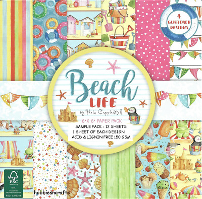 Dovecraft Beach Life Holiday Themed Papers - 6 X 6 Sample Pack   12 Sheets - New