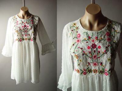 White Swiss Dot Colorful Embroidered Floral Bell Sleeve Party 275 mv Dress S M L