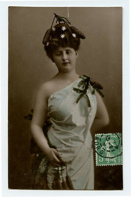 c 1910 Glamour Glamor LOVELY YOUNG LADY Pine Tree Fashion Beauty photo postcard