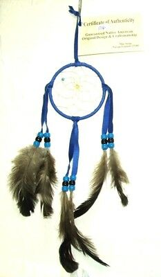 "3"" hoop Dreamcatcher Authentic Native American Royal Blue FREE SHIPPING #806"