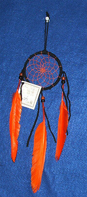 "Authentic Native American Dreamcatcher Navajo 3"" Black w/ ORANGE Feathers #05"