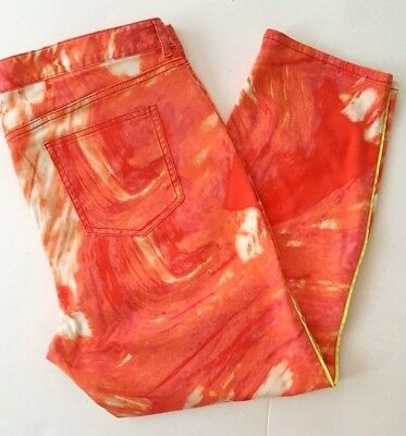 Tahari Cropped Orange Sorbet Tie Dye Cropped Pants - Stretch - Size L/XL