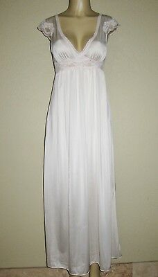 VINTAGE MISS ELAINE pale pink LACE silky NIGHTGOWN ANTRON NYLON GOWN P S