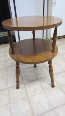 Vintage 1970's Two Tier Round Formica Top & Wood Spindle Leg Table / End Table