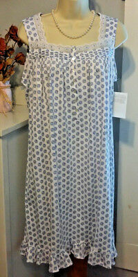 NWT S Small Eileen West Nightgown 100% Cotton Knit NEW Gown Sleeveless  Ruffle 4019aa24f