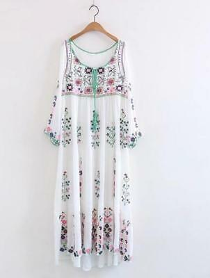 Women Vintage Mexican Floral Embroidered Deep V neck BOHO Ethnic Maxi Dress Hot