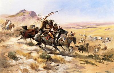 "Charles Marion Russell Attack on a Wagon Train Oil Painting repro 24""x36"""
