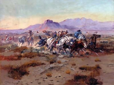 "Charles Marion Russell The Attack Handmade Oil Painting repro 24""x36"""