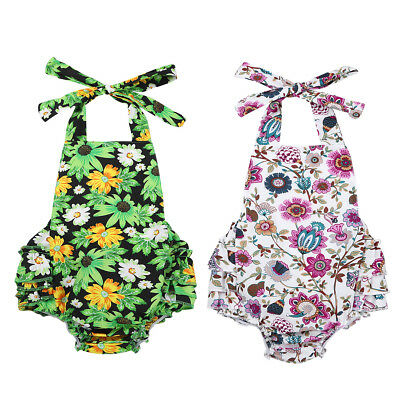 Baby Girls Floral Printed Halter Backless Romper Jumpsuit Summer Sunsuit Outfits