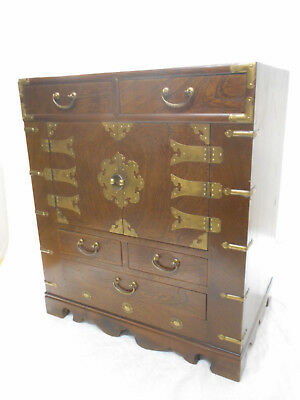 Vintage Wood and Decorative Brass Cabinet Chest Cupboard Korean C1960s #176