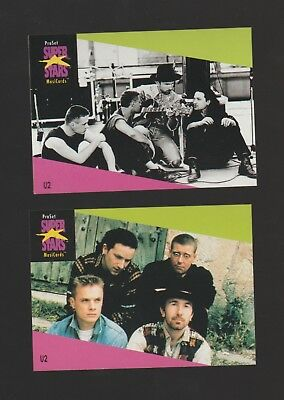 Set of 2 U2 rock band trading cards, Published early 1990's