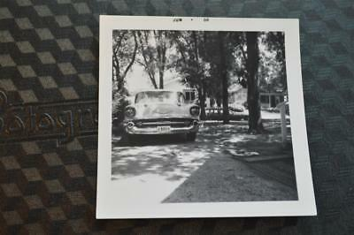 Vintage Car Photo 1957 Chevrolet in Driveway Free Shipping 878