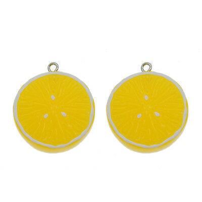 12pcs Yellow Lemon Shaped Resin Flatback Pendants Charms DIY Crafts Findings