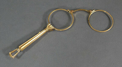 19c.Victorian Gold Plated Gilt Folding Lorgnette Opera Glasses Spectacles Ornate