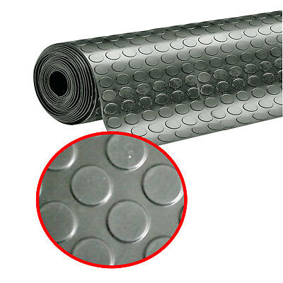 GREY Anti-Slip Penny Coin Garage Rubber Flooring Sheeting Roll 10M x 3MM THICK
