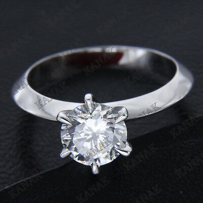 2 CT Diamond Round Cut Solid 14k White Gold Six Claw Solitaire Engagement Ring