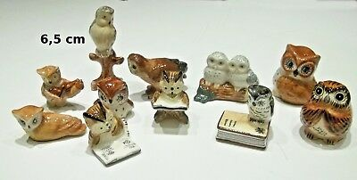 lot de 11 chouettes,figurine, bibelot, collection hibou, uil, owl  ****G42-01