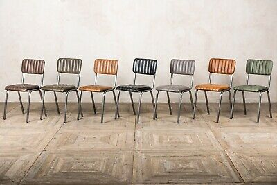 Ribbed Leather Dining Chairs Vintage Style Leather Chairs Gunmetal Frame Chair