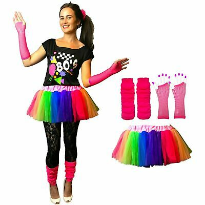 NEON 80s FANCY DRESS HEN PARTY COSTUMES TUTU SKIRT SET RAINBOW  DANCE