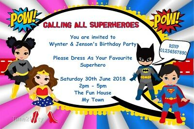 Personalised Superheroes Birthday Party Invitations Superhero Boys And Girls