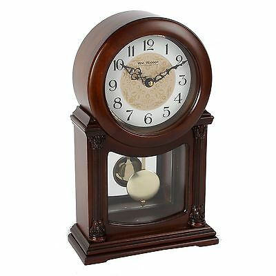 Dark Finish Wood Mantel Clock With Pendulum.new And Boxed.wooden Mantle