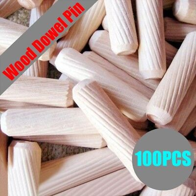 100pcs Hardwood Dowels Wooden Chamfered Fluted Pin Wood Beechwood Multigroove